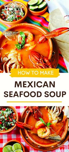 This traditional seafood soup comes together quickly and is made with shrimp, fish, and other fresh seafood are some of the ingredients used to prepare this creamy and delicious soup from scratch. Top with your favorite toppings, like prepared tortilla strips, freshly chopped cilantro, lime wedges, diced avocado, and crushed red pepper for additional heat. Seafood Soup Recipes, Mexican Food Recipes, Chicken Recipes, Mexican Seafood, Fish And Seafood, Fresh Seafood, Kitchen Recipes, Cilantro, Shrimp