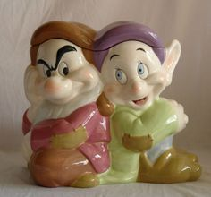 Disney Direct China Grumpy & Dopey Ceramic Cookie Jar Snow White Seven Dwarfs