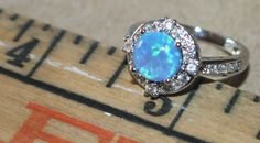blue fire opal Cz ring gemstone silver jewelry Sz 6 modern engagement cocktail A #Cocktail