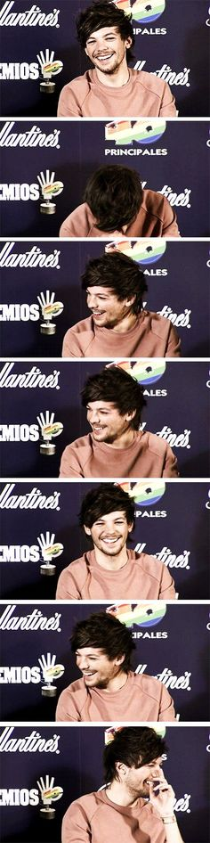 Imagine: Louis laughing because you make funny face at him behind the camera(: