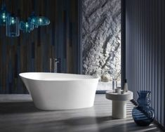 Buy the Kohler Veil and Composed Bundle-CP White with Polished Chrome Direct. Shop for the Kohler Veil and Composed Bundle-CP White with Polished Chrome Veil Freestanding Soaking Bathtub with Composed Floor Mount Tub Filler and Center Drain and save. Soaking Bathtubs, Tub Faucet, Whirlpool Bathtub, Faucets, Sinks, Beautiful Bathrooms, Modern Bathroom, Maximalism, Home