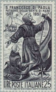 St. Francis of Paola who crosses the Strait of Messina
