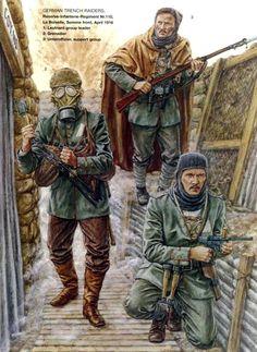 DEUTSCHES HEER - German Trench Raiders Reserve Infanterie Regiment n.110,  Somme Front apr 1916 - 1 Leutnant Group Leader - 2 Grenadier - 3 Unteroffizier, support group
