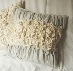 Ruffled Decorative Pillow in Ivory and Light Grey by annakrycz