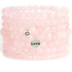 Blooming Lotus Jewelry Be Love Stack Bracelet ($156) ❤ liked on Polyvore featuring jewelry, bracelets, activewear, stacking bangles, rose quartz jewelry, bead jewellery, beading jewelry and pink jewelry