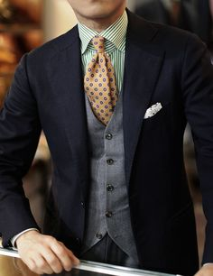 Men's Fashion | Menswear | Greens, Blues and Yellows | Polka Dots Tie on Striped Shirt | Moda Masculina | Shop at designerclothingfans.com