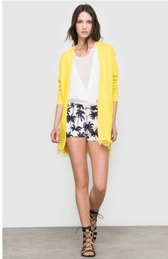 White top+printed shorts+black lace up sandals+yellow long cardigan. Summer outfit 2016