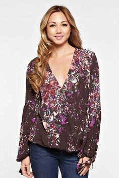 Love Stitch Clothing Floral Surplice Top with Tie Sleeve for Women I-11581W-NAR-CD-BLACK