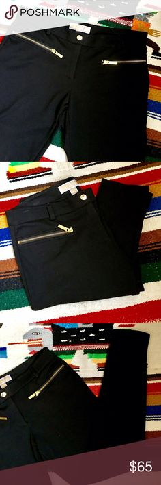 """Michael Michael Kors Black Zip Leggings Belt Loops On Trend for 2017 and so flattering! Goldtone Zip front with Michael Kors Snap, fabulous slash pockets with visible oversized Goldtone teeth and Michael Kors Tabs! Great fabric- 70% Poly, 25% Rayon, 5% Spandex, Machine Washable, too! Beltloops will take up to a 1 3/8"""" Belt, 15.5"""" Waist, 8.5"""" Front Rise, 20"""" Bumm, 28"""" Inseam, 10"""" Around Leg opening. VERY Well Made! In Excellent shape, No fading, No pills, snags, spots, tears, signs of…"""