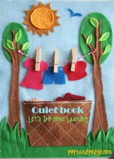 Quiet Book Templates for hanging the wash, tying shoelaces, fishing and tic-tac-toe from Pops and Podge