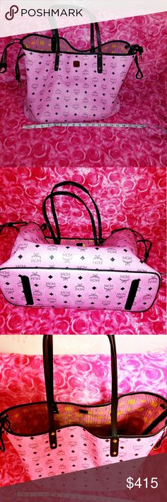 💯% Authentic Bubblegum Pink McM Reversible Tote Used but in great condition No permanent damage (inside will be cleaned  before shipping)   🎀Ultra Premium Gift Wrapping Included🎀  I've decided to just sell the tote without the mini bag MCM Bags Totes