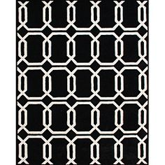@Overstock - This hand-tufted black rug is made from New Zealand-blended wool and hand washed. A geometric pattern of black and vanilla colors highlights this lovely rug.   http://www.overstock.com/Home-Garden/Hand-tufted-Floridly-Black-Wool-Rug-5-x-8/6737789/product.html?CID=214117 $191.99