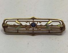 Rare Vintage Estate Art Nouveau 14K Gold Enamel Aquamarine Blue Stone Brooch Pin