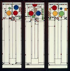 Stained glass windows designed by Frank Lloyd Wright.