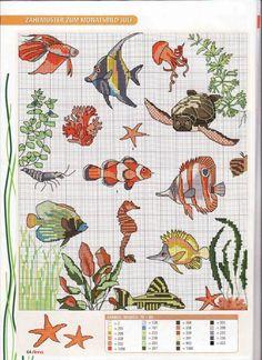 2 of 2 Cross Stitch Sea, Cross Stitch Animals, Counted Cross Stitch Patterns, Cross Stitch Charts, Cross Stitch Designs, Cross Stitch Embroidery, Embroidery Patterns, Hand Embroidery, France Patchwork