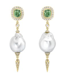 Tsavorite & Pearl Drop Earrings