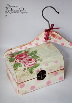 Wooden box jewelry box and hanger set – Hand decorated with decoupage