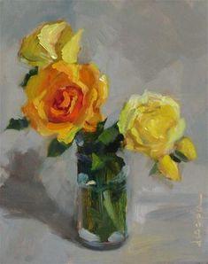 "Daily Paintworks - ""Spring Roses"" - Original Fine Art for Sale - © Dana Cooper"