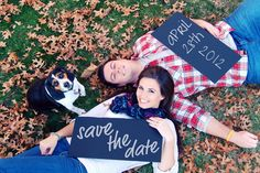 save the date picture with the dog. Yes, we will take pictures with our dogs.