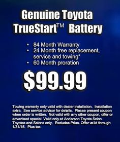 Toyota service repair coupons haley toyota certified sales and service coupon from anderson toyota scion truestart batter for 9999 fandeluxe Gallery