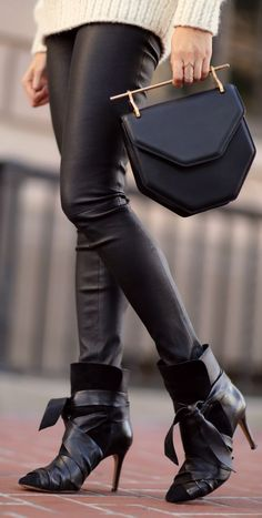 Black Bowed Ankle Strap Booties