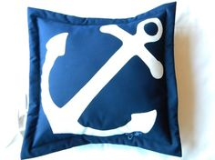 Anchor painted pillow 20 all weather white on navy by crabbychris, $41.00