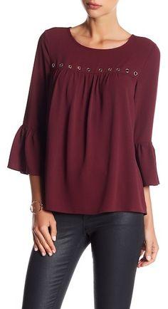 5f9c21d2c3d Spense 3 4 Flounce Sleeve Crommet Blouse Shirt Blouses