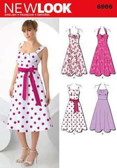 Womens retro style dress sewing pattern vintage 6966 New Look