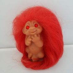 Vintage Dam Troll Doll RED Garnet BIRTHSTONE Baby Infant Newborn Trolls JANUARY #Dam #Dolls #Trolls #TrollDolls #BabyTrolls #Norfin #Redhair #RedRhinestoneEyes #January #Birthstone #VintageTrolls #1980s #VintageToys