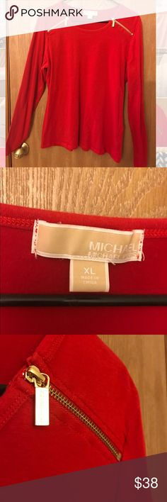 Red Michael Kors Long Sleeved Top Perfect top for the office, dinner, party, etc!  Looks great with pants or pencil shirt!   GO TO WORK IN STYLE!   Bundle other shirts for discounts !   Stretches ! SUPER FLATTERING ! Michael Kors Tops