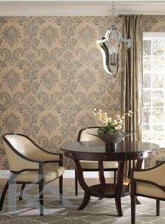 Handsome and refined gives tribute to the grace of a bygone era. with a lightly look stand out with raised and a touch of sheen. Antique Wallpaper, Damask Wallpaper, Dining Chairs, Dining Table, Dining Rooms, Brooklyn, Room Decor, House, Inspiration