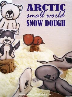 Snow dough inspired play with arctic animal small world