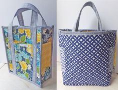 PDF Pattern Reversible Quilted Tote Bag with 6 Pockets and