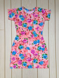 Coral Floral Dress, Knit Sheath Dress, Plus Size