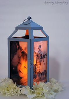 DIY Photo Lantern. - use with an electric candle with a timer as a night light. Use your child's favorite people or characters as the velum photos.