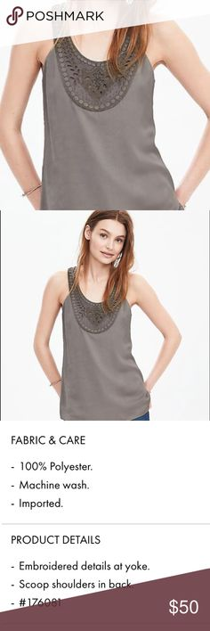 Banana Republic embroidered tank Beautiful tank. Easy to dress up or down Banana Republic Tops Tank Tops