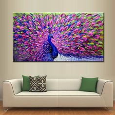 Modern Abstract Large Wall Decor Oil Painting On Art Canvas,Peacock(No Frame) #ArtDeco