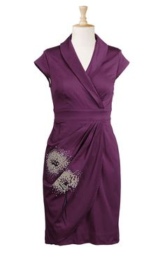 I am enamored of this dress. The color and the flower on the dress are so feminine.  I would definitely do a longer sleeve with this. Eshakti has some wonderful new styles this season. #dress #purple