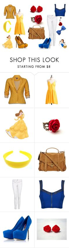 """Belle"" by sdrawdenna ❤ liked on Polyvore featuring Mexx, INDIE HAIR, Sergio Rossi, Proenza Schouler, Disney, MANGO, Lipsy, Clips, belle and blue"