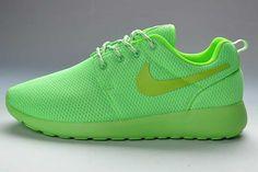 dcdad95f3b9f UK Trainers Roshe One Nike Roshe Run Mesh Junior Womens Fluorescent Green  Draw Black Firday