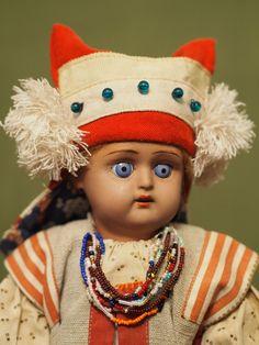 русская антикварная кукла Дунаев. Мордовка