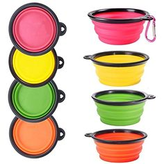 4 Pack Collapsible Silicone Dog Bowl for Dog Cat Food and Water, Silicone Travel Pet Dog Bowl Folding Portable Expandable Bowls (Pink, Yellow, Green, Orange) By Miss Flora * See this great product. (This is an affiliate link) #Cats