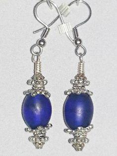 """Dogon"" Cobalt Blue ""Trade Bead"" Earrings | cornsilkscreations - Jewelry on ArtFire"