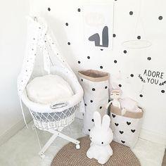 Neutral Baby Kids Room Inspo Style Dots Minimalistic Paperbag Miffy Wandsticker Stubenwagen Babycrib