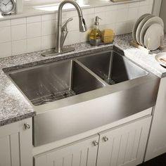 Superbe Features:  Double Bowl Kitchen Sink With 60/40 Offset.  Brushed Satin · Farm  Style ...