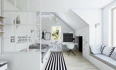 Poddasze w skandynawskim stylu | NEFA Architekci - Studio projektowe Attic Bedroom Small, Bedroom Decor For Small Rooms, Cool Rooms, Girls Bedroom, Teen Bedroom Designs, Teenage Room, Bedroom Layouts, Modern Room, My New Room
