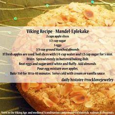 Viking Recipe: Mandel Eplekake (a. Medieval Recipes, Ancient Recipes, Apple Cake Recipes, Dessert Recipes, Desserts, Viking Food, Nordic Recipe, Norwegian Food, Norwegian Recipes