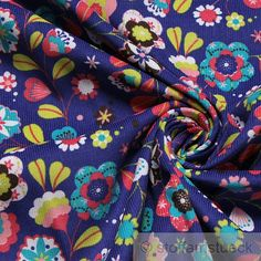 Fabric pure cotton corduroy ultramarine blue flower flowers needlecord