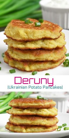 Deruny (Ukrainian Potato Pancakes) These are classic Ukrainian Potato Pancakes also called Deruny. Serve for breakfast, as an appetizer or side dish. Always serve with sour cream. An easy recipe that takes around 30 minutes for the whole process! Ukrainian Recipes, Russian Recipes, Ukrainian Food, Side Dish Recipes, Side Dishes, Brunch Recipes, Breakfast Recipes, Breakfast Appetizers, Potato Pancakes