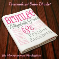 Personalized Baby Blanket Monogrammed Baby Blanket Name Blanket Swaddle Receiving Blanket Baby Shower Gift Photo Proop Birth Announcement on Etsy, $58.00